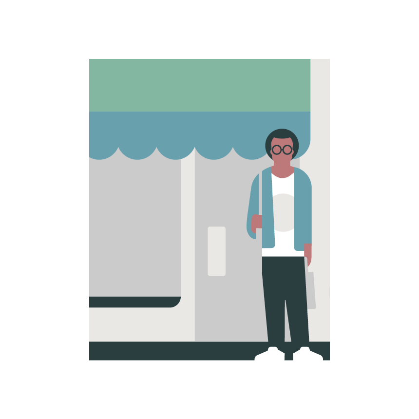 Illustration of a retail customer waiting outside store.