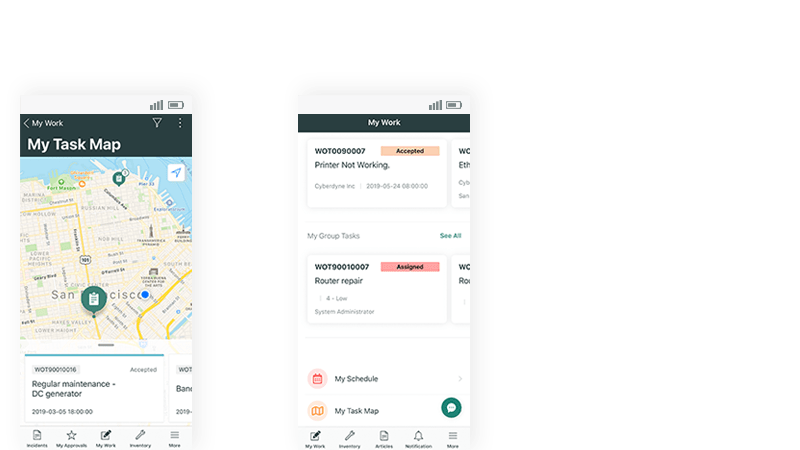Support field work with mobile views of maps and tasks