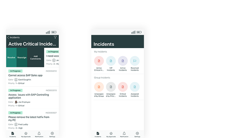 Use swipe behavior and applets to manage incidents